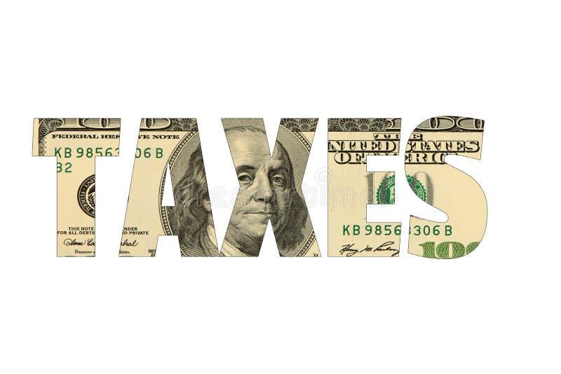 Podatki z amerykańskim dolarowym tłem, odosobniony biel zdjęcia royalty free