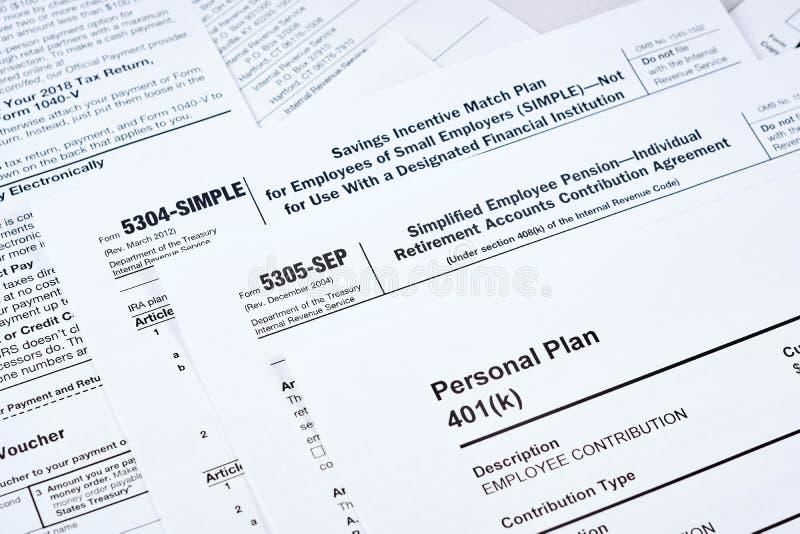 Podatku reportaż i emerytura plan zdjęcie stock