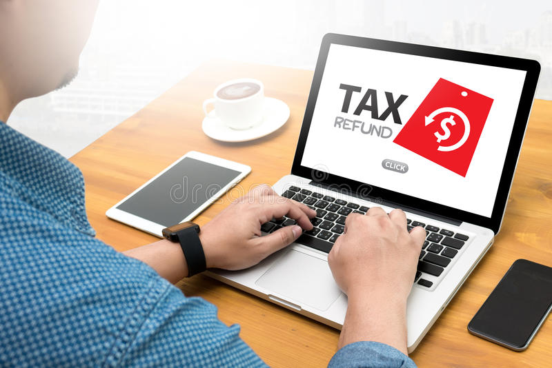 PODATKU zwrota i zwrota podatku zwrot Karze grzywną obowiązku opodatkowanie zdjęcia stock