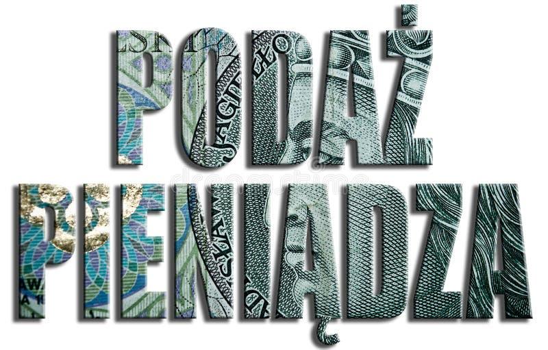 Podaz Pieniadza - masa monetaria 100 PLN o textura polaca del Zloty stock de ilustración