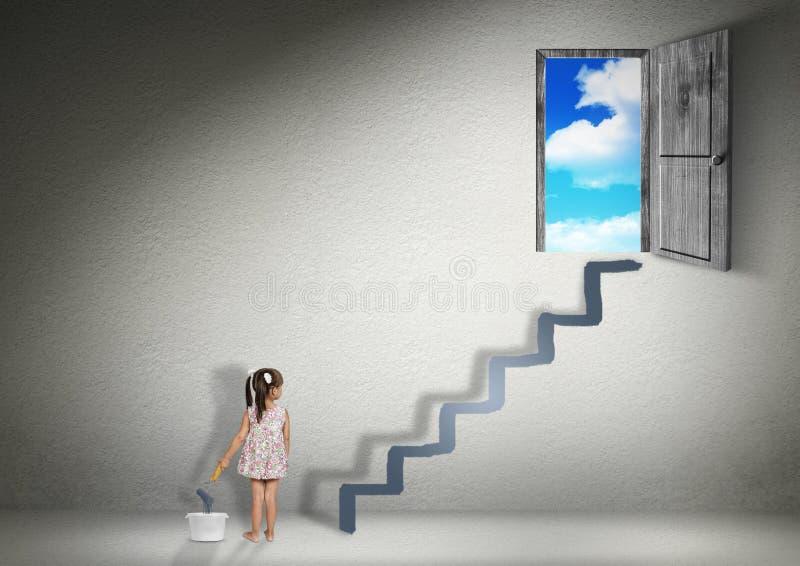 Podbija pojęcie, dziecko dziewczyny remisów schodki dla wyjścia obrazy stock