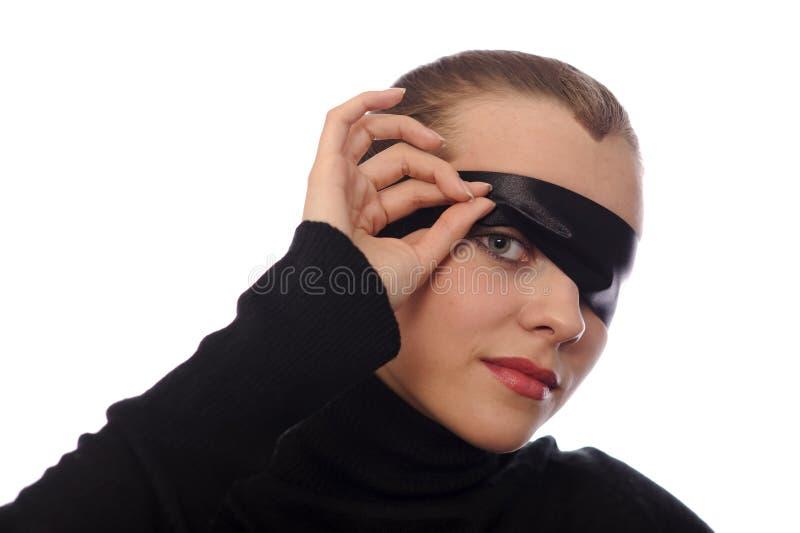 podbite oko kobieta figlarnie tasiemkowa zdjęcie stock