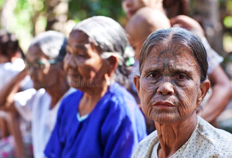 Podbródek plemię tatuować kobiety, Myanmar obraz stock