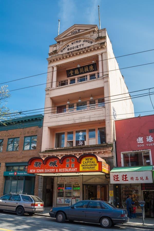 Podbródka Chun społeczeństwa Skrzydłowy budynek na Wschodnim Pender St. w Chinatown w Vancouver zdjęcie royalty free