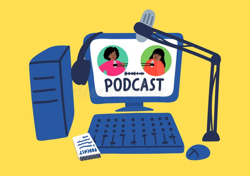 Podcast合理的数字记录,编辑,播放与字法 皇族释放例证