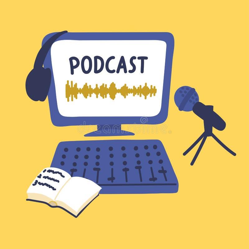 Podcast合理的数字记录,编辑,播放与字法 库存例证