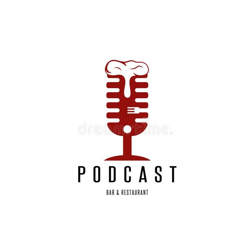 Podcast бар и ресторан с вектором микрофона и пива бесплатная иллюстрация