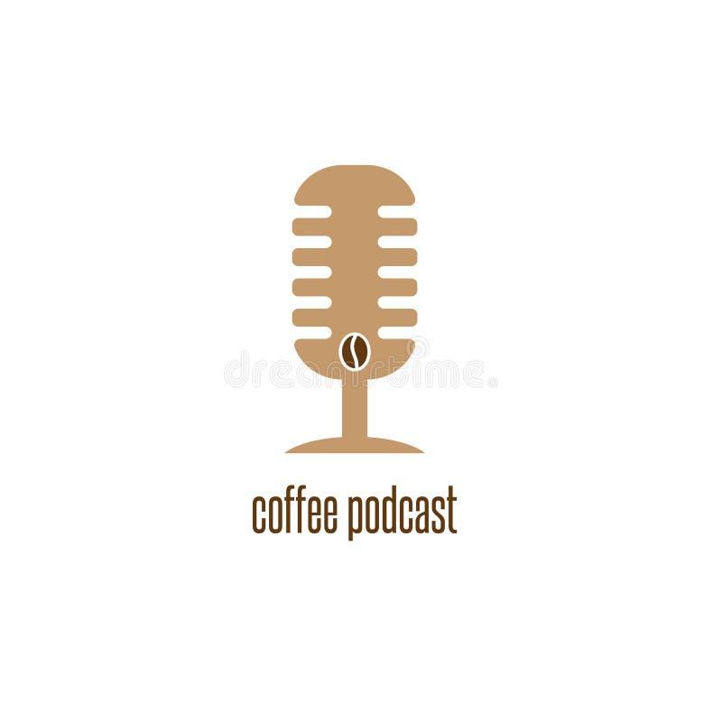 Podcast кофе с вектором микрофона и фасоли конструирует бесплатная иллюстрация