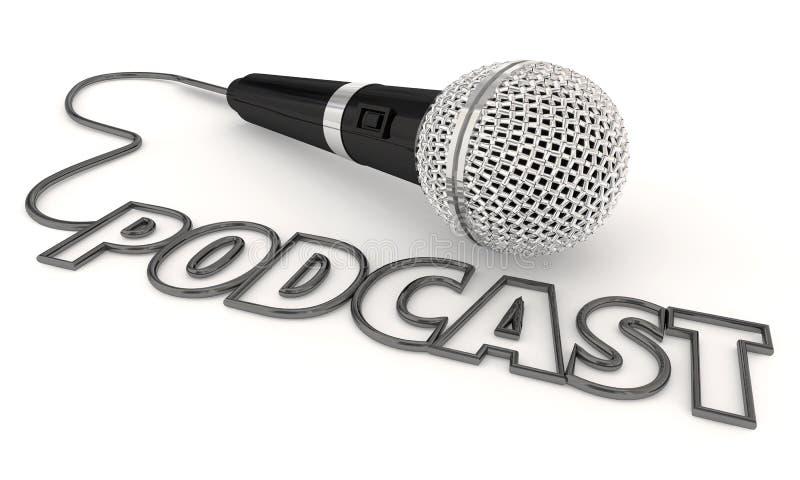 Podcast микрофон 3d Illustratio файла мобильного шоу программы аудио стоковые фотографии rf