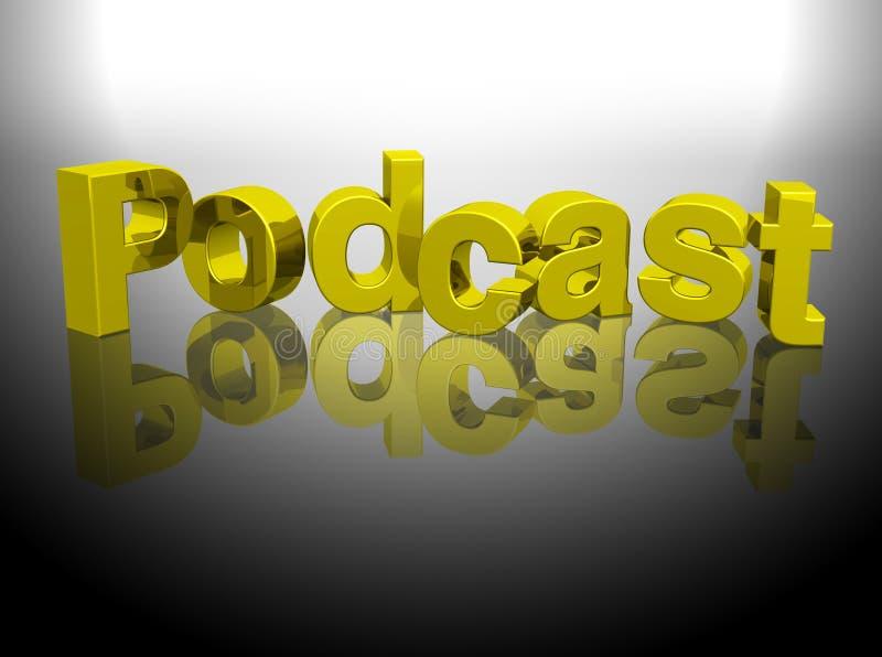 Podcast 3D gold word rendering stock illustration