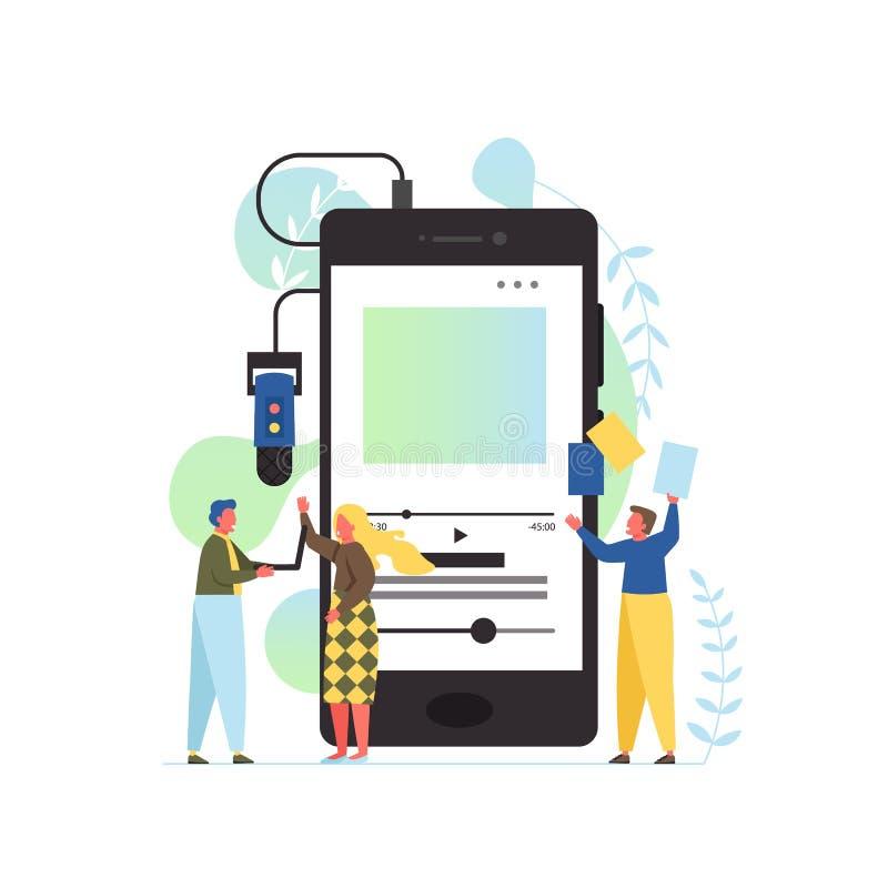 Podcast app, vector flat style design illustration vector illustration