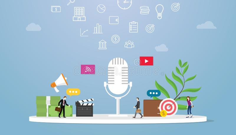 Podcast business concept with icon illustration and team people and money for finance with some goals with modern flat style - vector illustration