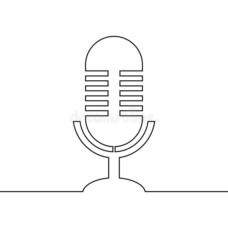 Podcast continuous line drawing retro design vector illustration