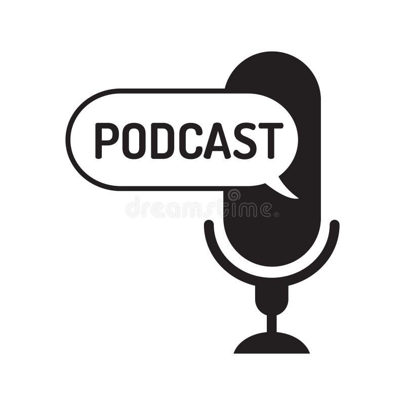 Podcast del logotipo o del icono con el texto en globo del texto en el fondo blanco, gráfico de vector stock de ilustración