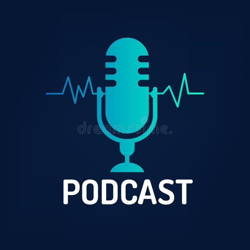 Podcast dell'icona o di logo con l'onda su fondo scuro, grafico di vettore illustrazione vettoriale