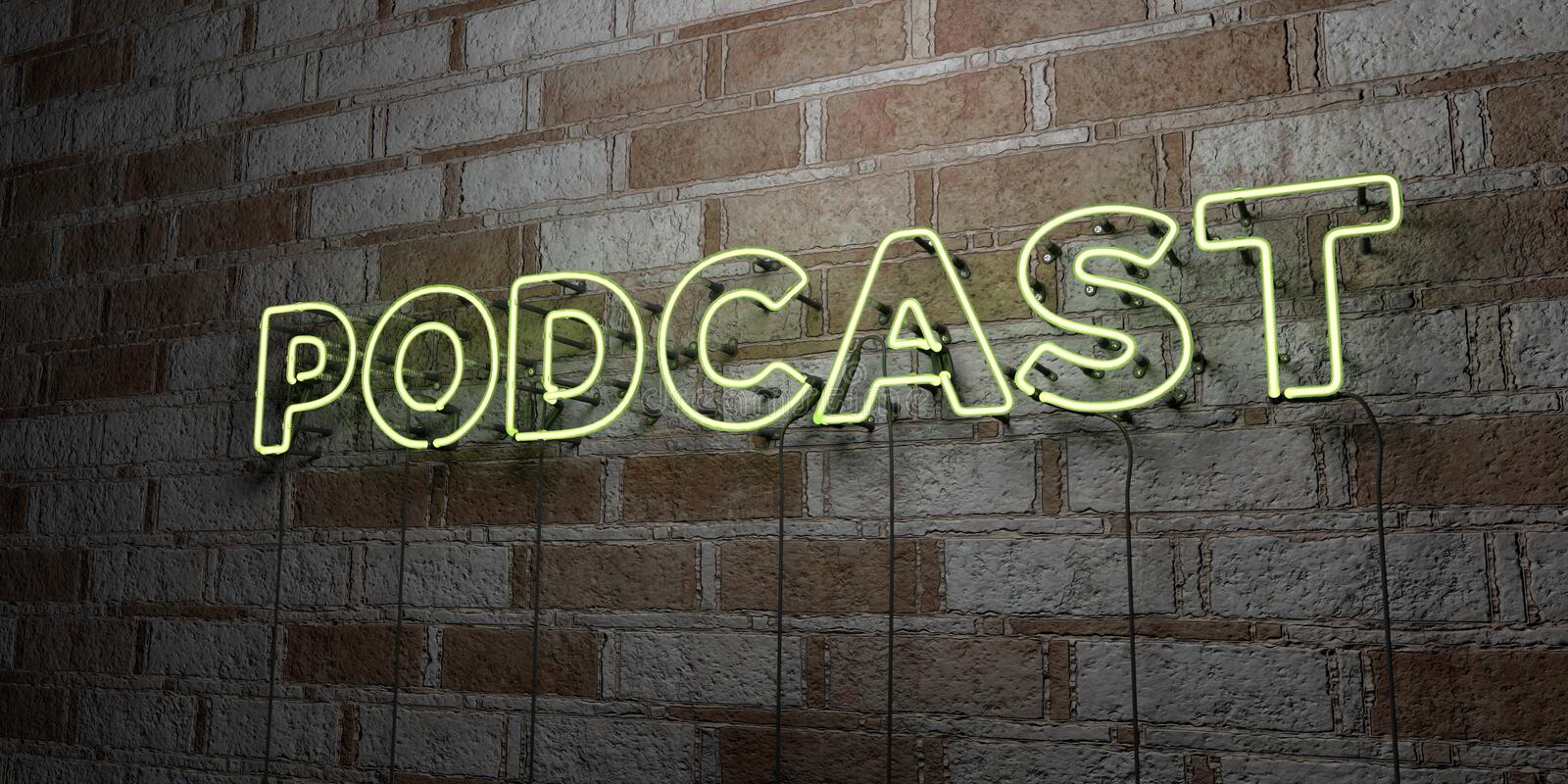 PODCAST - Glowing Neon Sign on stonework wall - 3D rendered royalty free stock illustration stock illustration