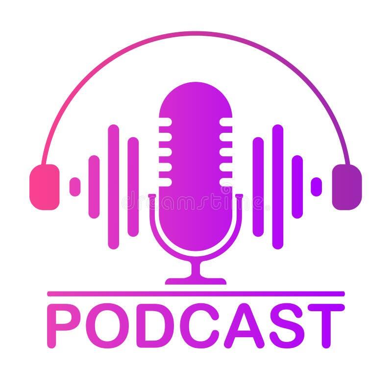 Podcast ikony koloru studia stół jest mikrofonem z rozsądnej fali fali symbolami Webcast audio nagrania pojęcia logo z royalty ilustracja
