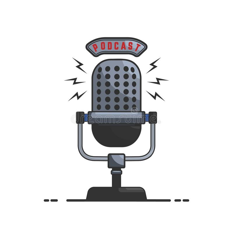 Podcast. Microphone illustration in flat style isolated on white background. Design element for emblem, sign, flyer, card, banner. vector illustration