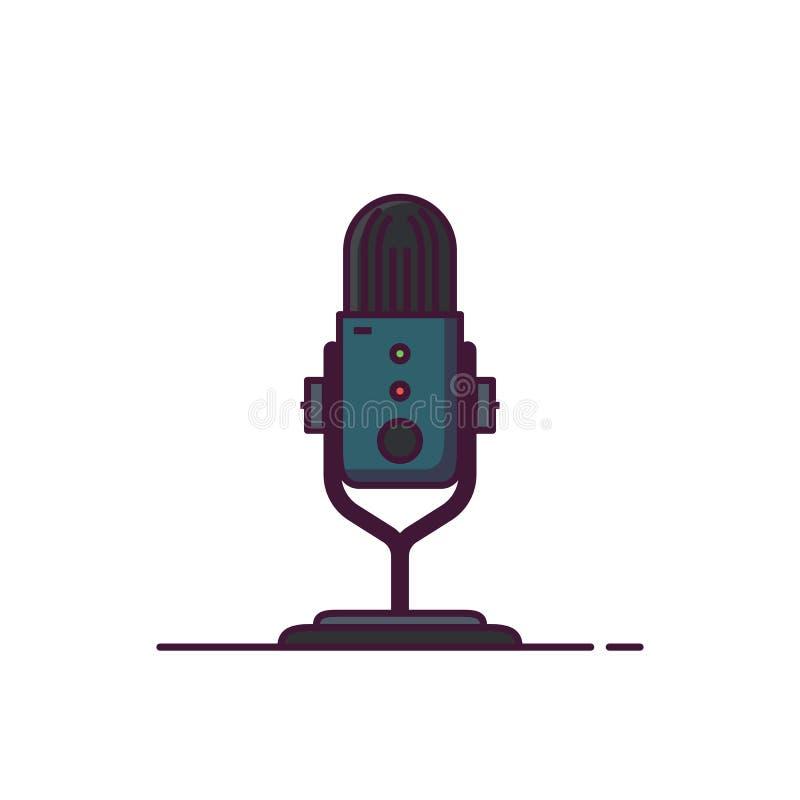 Podcast mikrofonu kreskowego stylu ilustracja ilustracji
