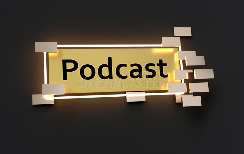Podcast modern golden sign stock illustration