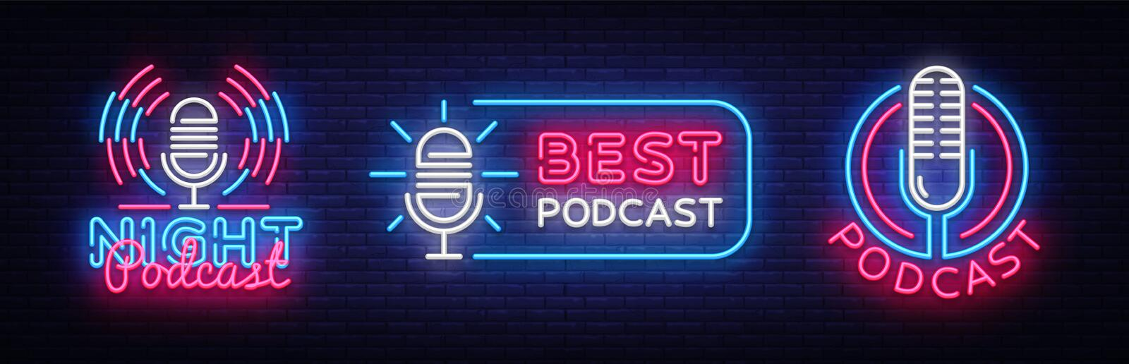 Podcast Neon sign collection vector design template. Podcast neon logo, light banner design element colorful modern royalty free illustration