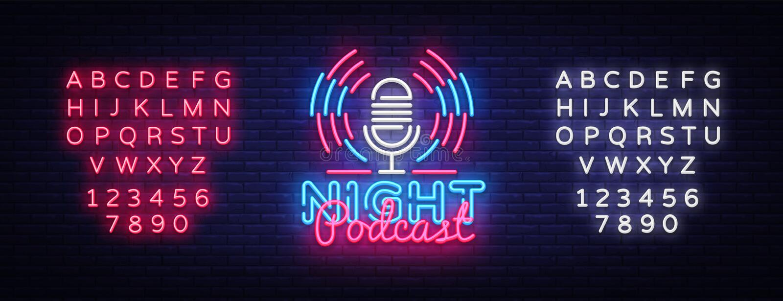 Podcast neon sign vector. Night Podcast Design template neon sign, light banner, neon signboard, nightly bright royalty free illustration