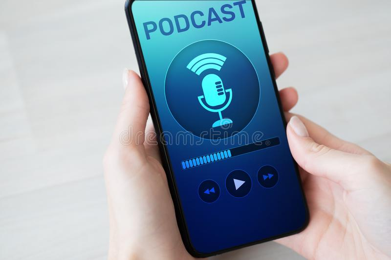 Podcast playing or recording application on mobile phone screen. Internet radio media concept. Podcast playing or recording application on mobile phone screen royalty free stock images