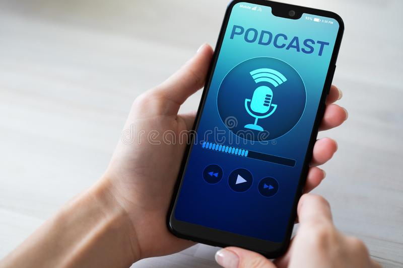 Podcast playing or recording application on mobile phone screen. Internet radio media concept. Podcast playing or recording application on mobile phone screen stock photography