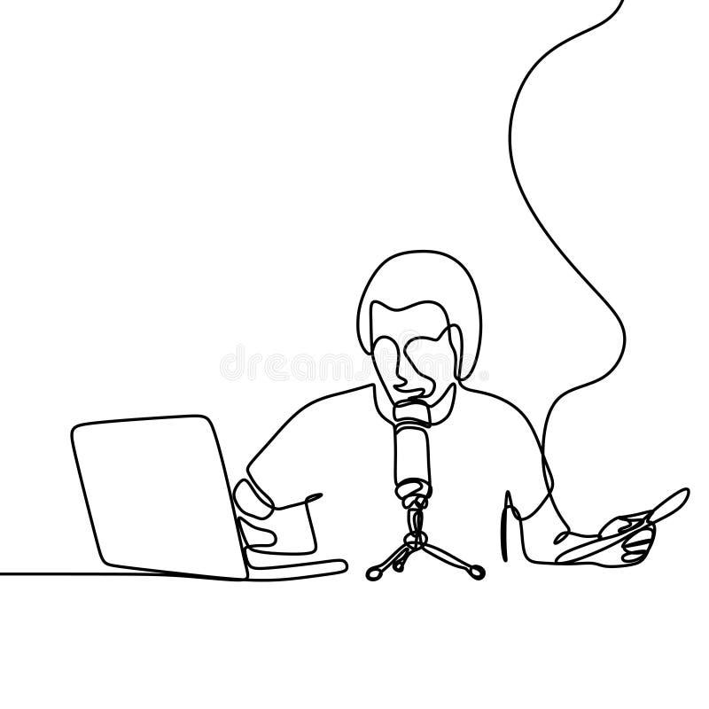 Podcast pracowniany ciągły kreskowy rysunek royalty ilustracja