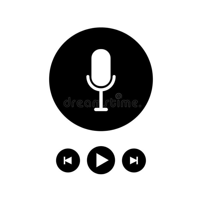 Podcast radio icon illustration set. Studio table microphone with broadcast text on air. Webcast audio record concept logo stock illustration