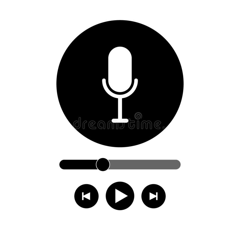Podcast radio icon illustration set. Studio table microphone with broadcast text on air. Webcast audio record concept logo. Web icon vector illustration