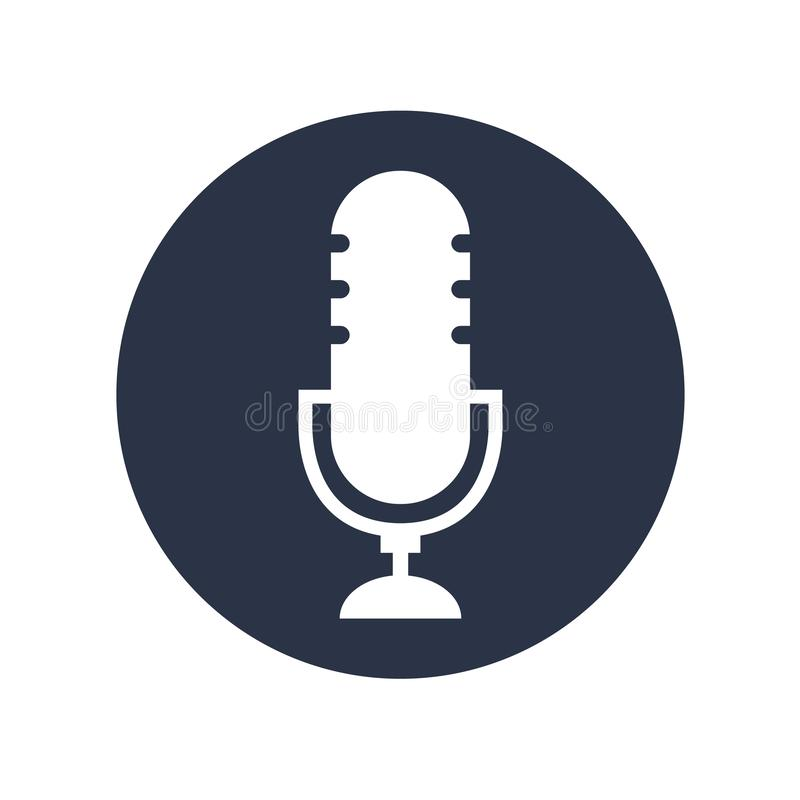 Podcast radio icon vecor on white background. Studio table microphone.  vector illustration