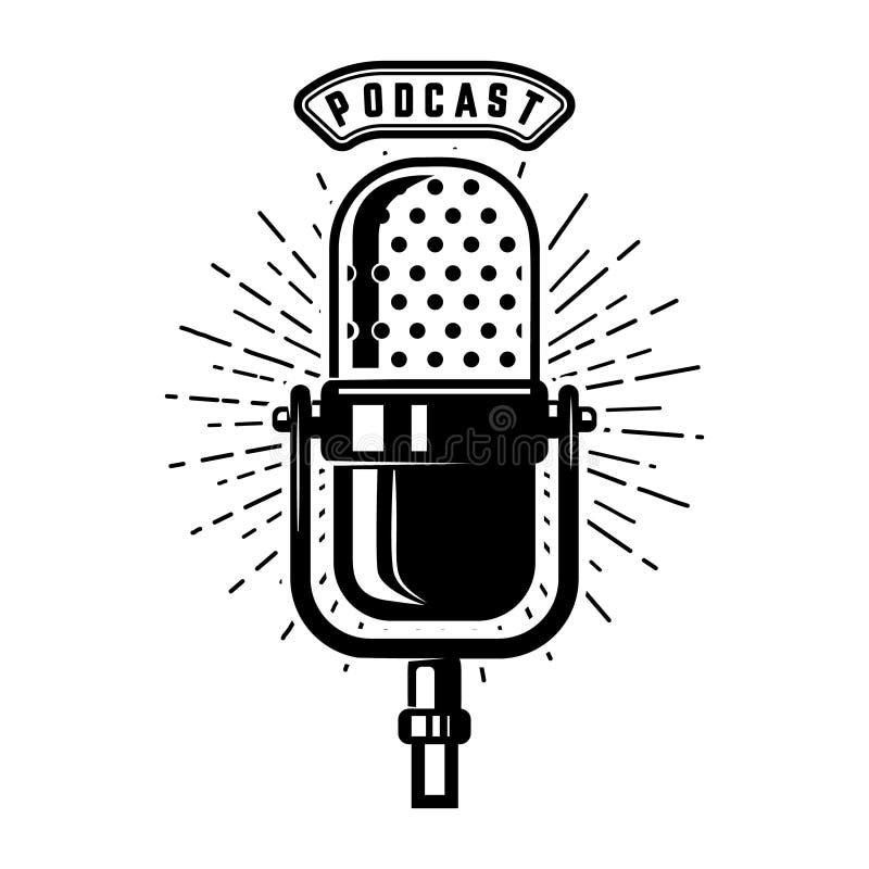 Podcast Retro microfoon op witte achtergrond wordt geïsoleerd die Ontwerp E royalty-vrije illustratie
