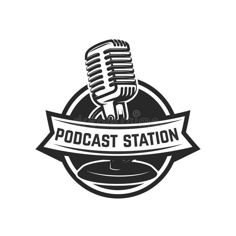 Podcast station. Emblem template with retro microphone. Design element for logo, label, emblem, sign. stock illustration