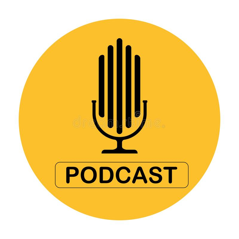 Podcast Vector flat illustration, icon, logo design on a white background. In the yellow circle vector illustration