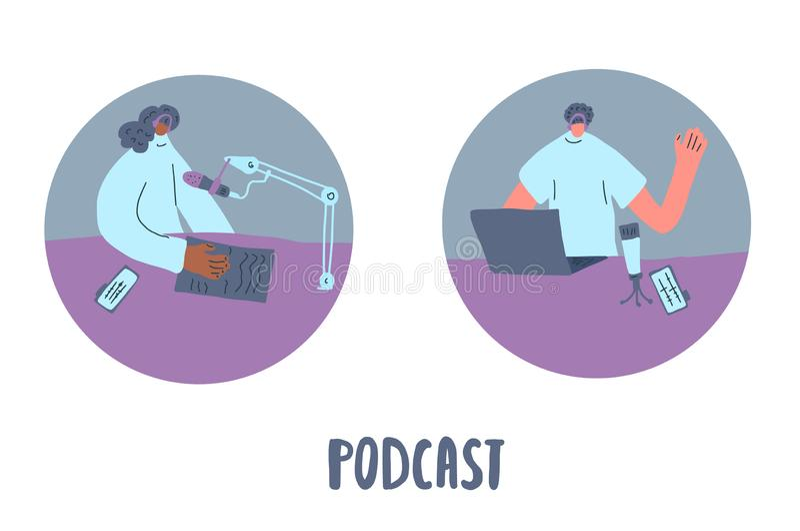 Podcast vlak concept Het vectorontwerp van de kleurenkaart vector illustratie