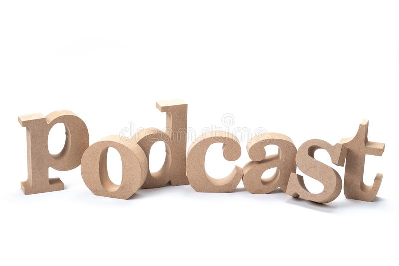 Podcast Wood Word royalty free stock images