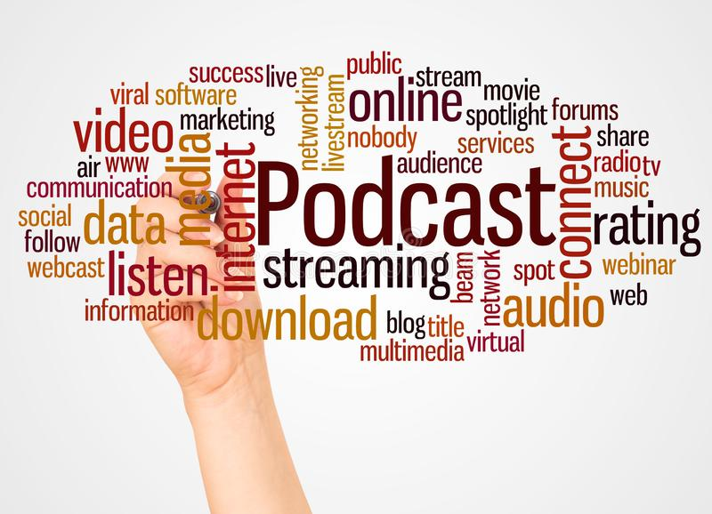 Podcast word cloud and hand with marker concept royalty free stock photography