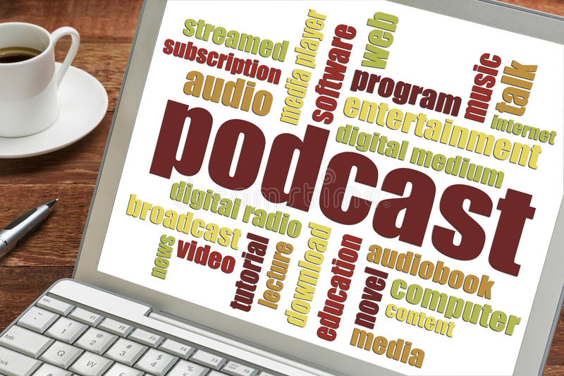Podcast word cloud on laptop royalty free stock photo