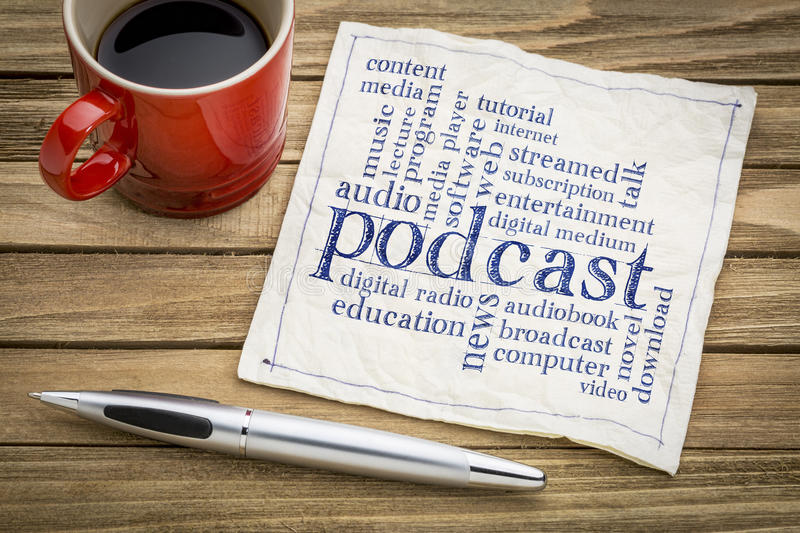 Podcast word cloud on napkin. Podcast word cloud on a napkin a cup of coffee - internet broadcasting concept royalty free stock photography