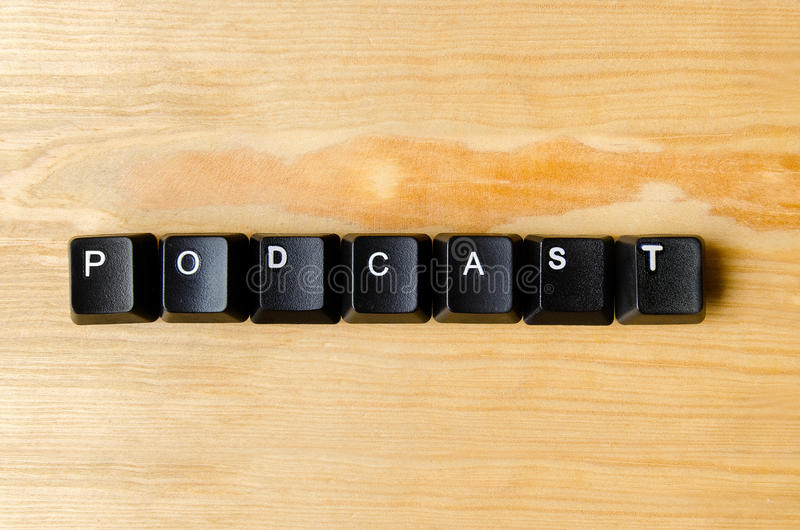Podcast word stock photo