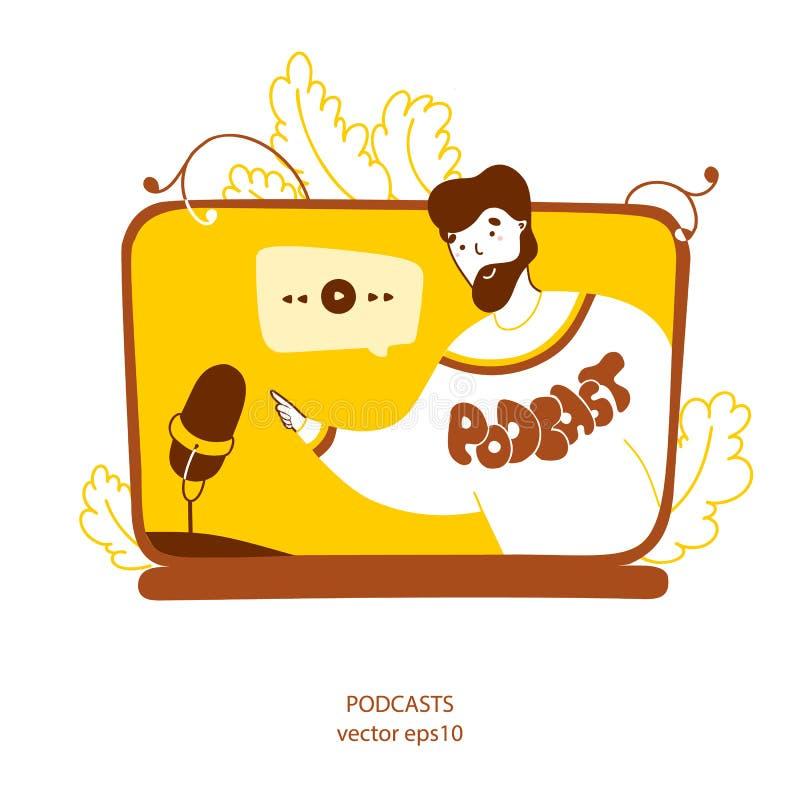Podcaster recording radio program flat vector yellow illustration vector illustration