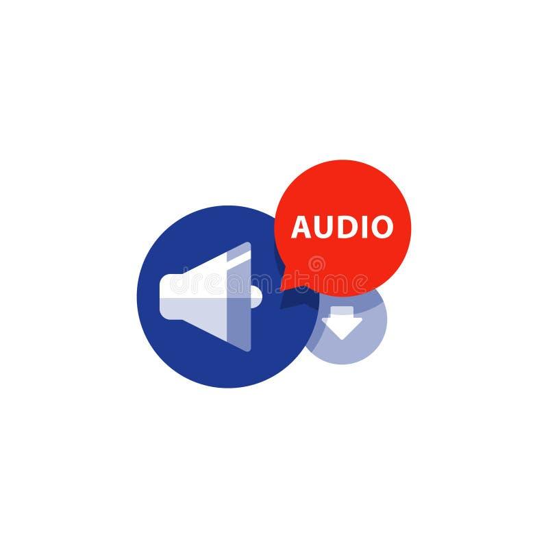 Podcasting,听音频平的象,文件下载箭头,音乐概念 向量例证