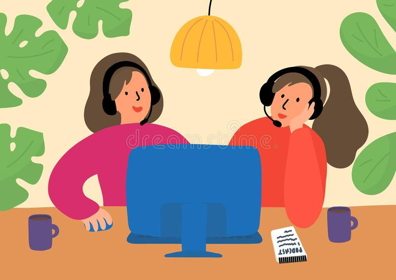 Podcasting Δύο γυναίκες με την καταγραφή, που εκδίδουν, ή που μεταδίδουν ραδιοφωνικά podcast, on-line την κατάρτιση, ή το σε απευ ελεύθερη απεικόνιση δικαιώματος
