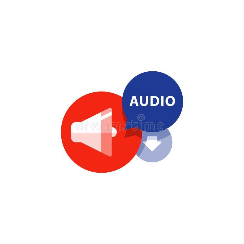 Podcasting, слушает тональнозвуковой плоский значок, стрелка загрузки файла, концепция музыки иллюстрация вектора