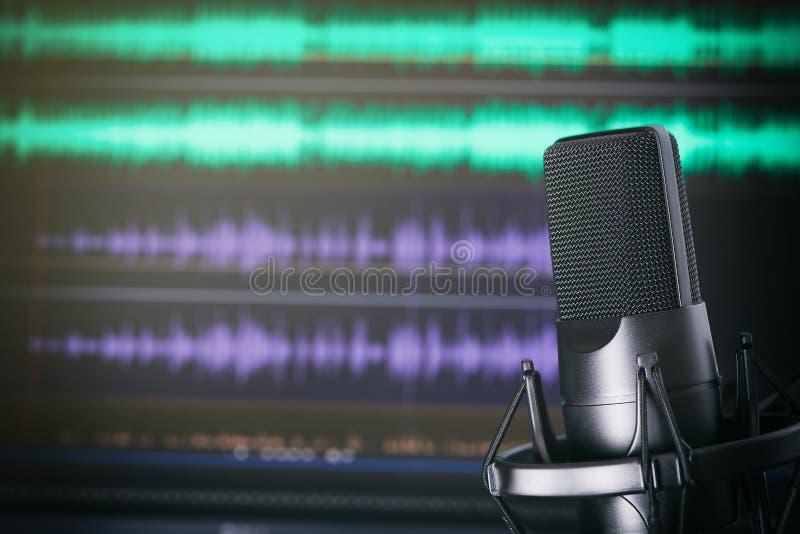 Podcaststudio royaltyfri bild