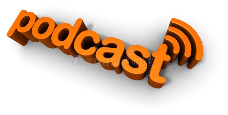 podcasttext för design 3d stock illustrationer