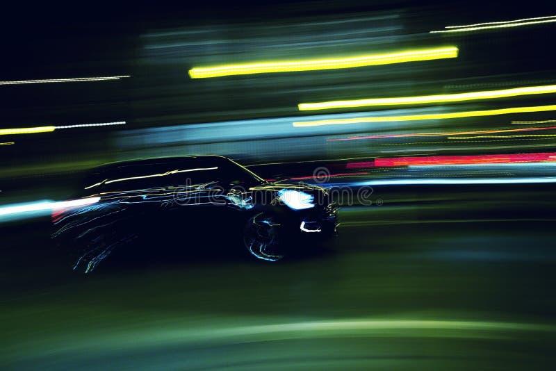 Podczas podróży czarny samochód fotografia stock