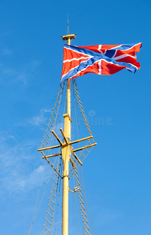 Poddańcza Rosyjska marynarki wojennej flaga na flagpole fotografia royalty free
