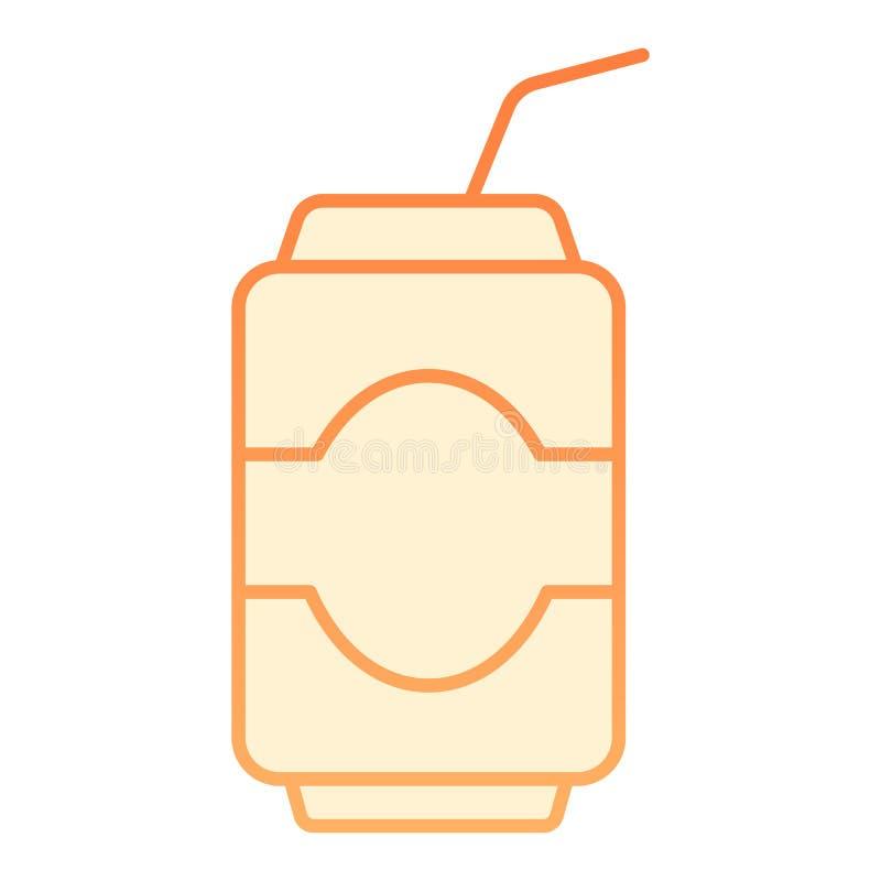 Pode beber o ícone liso Ícones alaranjados da soda no estilo liso na moda Projeto do estilo do inclinação do cereal, projetado pa ilustração stock
